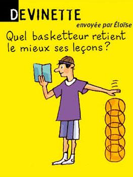Devinette, envoyée par Eloise - Quel basketteur retient le mieux ses leçons ? Réponse : Tony Parker (par cœur).