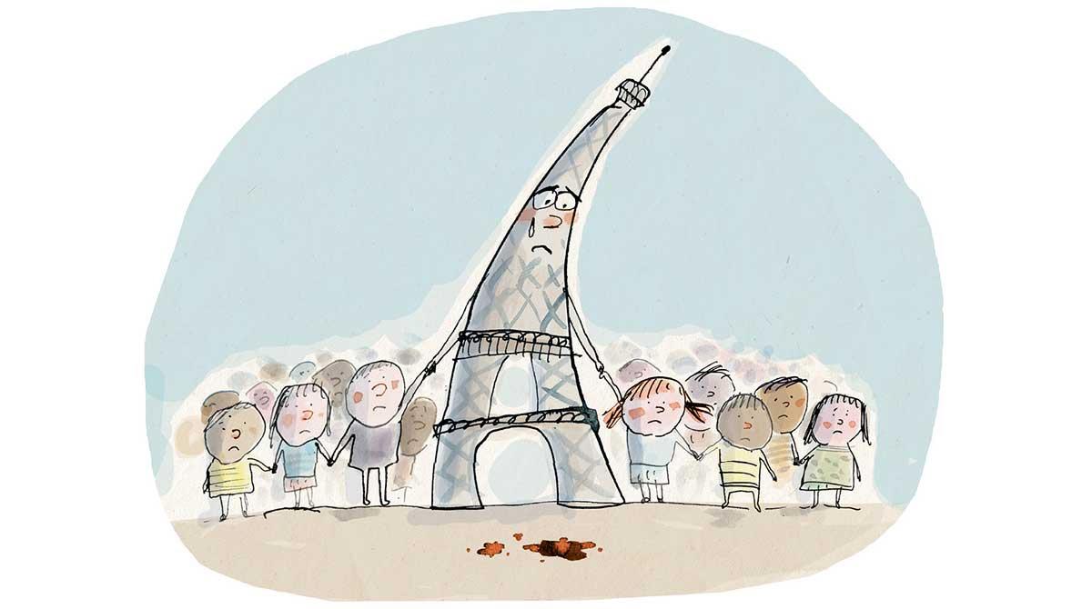 Attentats de Paris : les bons mots pour expliquer aux enfants. Illustration : Frédéric Benaglia