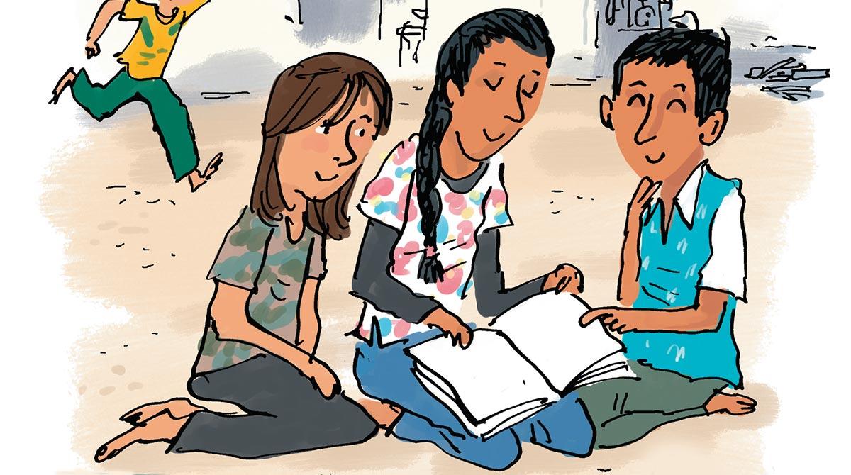 Notre journal à nous, enfants et exilés. Illustration : Robin