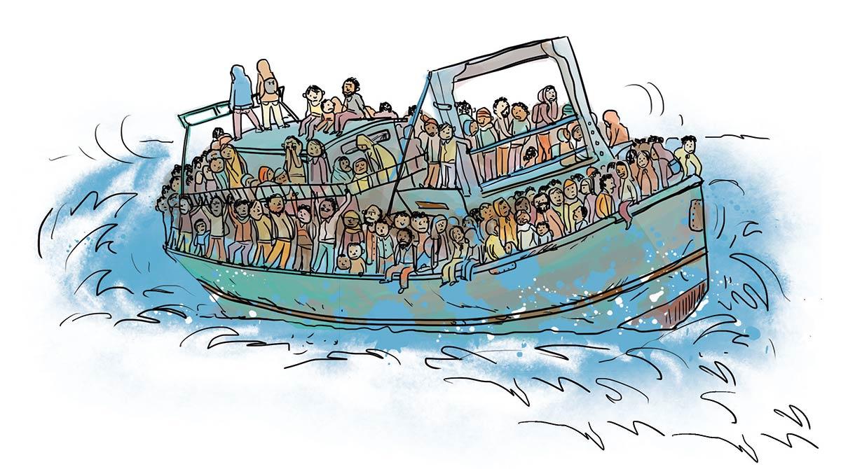 """Télécharge le livret : """"Les réfugiés et les migrants pourquoi on en parle autant?"""". Illustration : Zelda Zonk"""