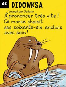 Didonksa - A prononcer très vite ! Ce morse choisit ses soixante-six anchois avec soin !