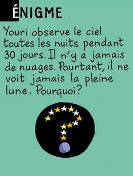 Enigme - Youri observe le ciel toutes les nuits pendant 30 jours. Il n'y a jamais de nuages. Pourtant il ne voit jamais la pleine lune. Pourquoi ? Réponse : Youri est cosmonaute, et il est sur la Lune.