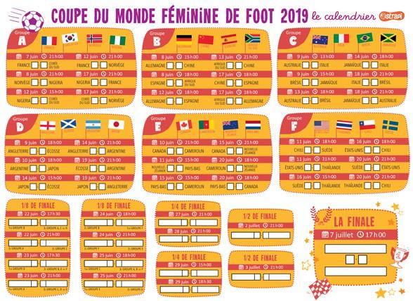 Calendrier Coupe.Calendrier Coupe Du Monde Feminine De Foot Astrapi