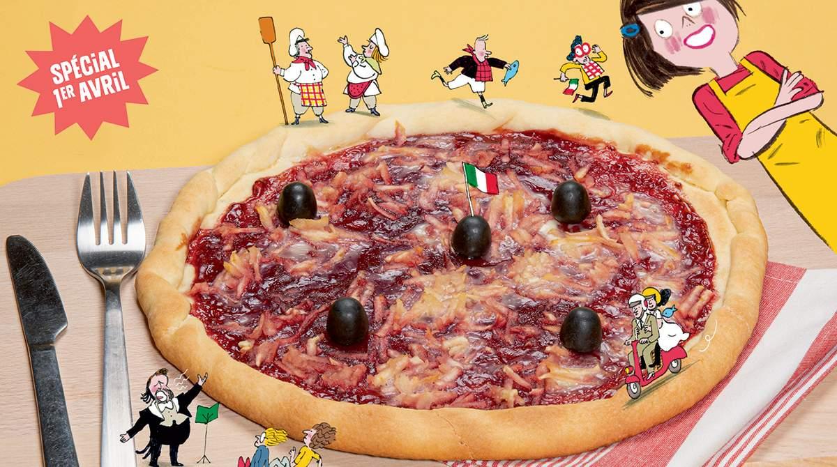 """La pizz'arnaque"", Astrapi n°945, 1er avril 2020. Recette : Bruno Muscat. Stylisme et réalisation : Julie Boogaerts. Photo : Benoît Teillet. Illustrations : Laurent Simon."