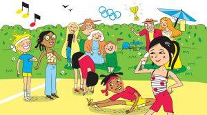 """""""Les Olympiades de la rigolade"""", Astrapi n°951, 1er juillet 2020. Illustration: Line Hachem."""