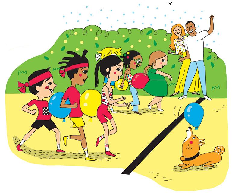 """""""Les Olympiades de la rigolade"""", Astrapi n°951, 1er juillet 2020.  Conception et texte : Rémi Chaurand. Illustrations : Line Hachem."""