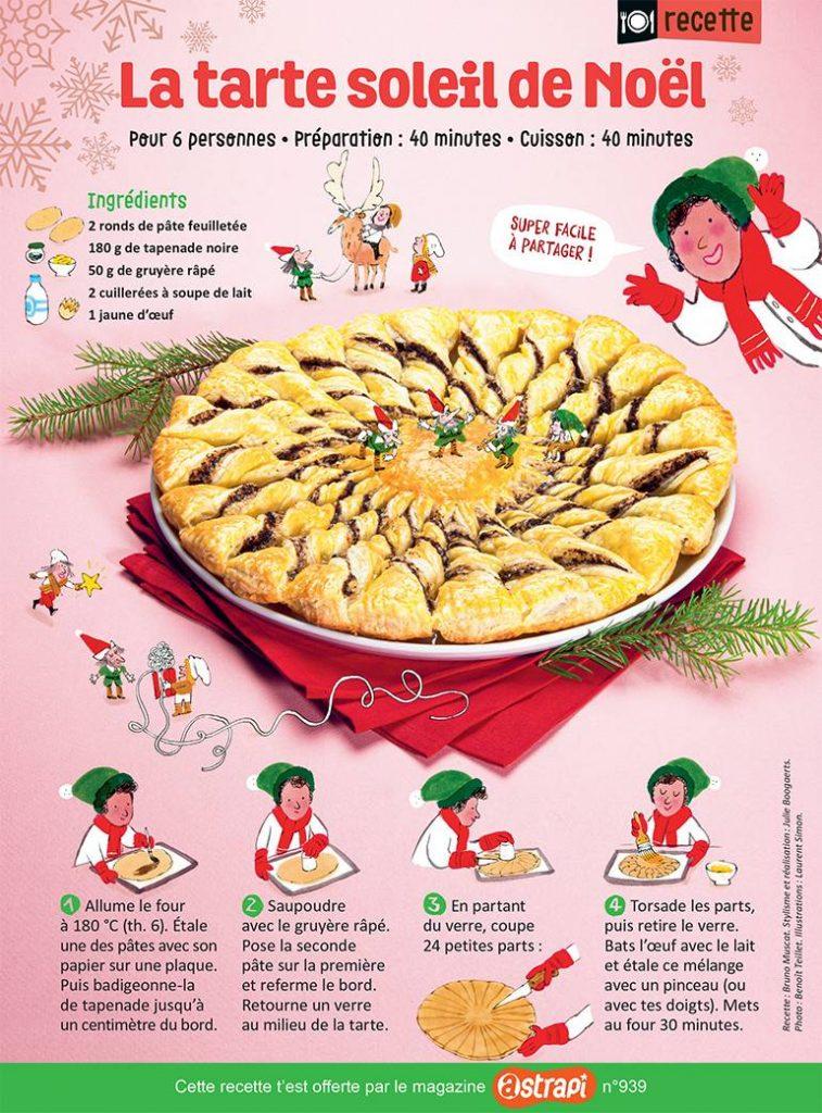"""""""La tarte soleil de Noël"""", Astrapi n°960, 15 décembre 2020. Recette : Bruno Muscat. Stylisme et réalisation : Julie Boogaerts. Photo : Benoît Teillet. Illustrations : Laurent Simon."""
