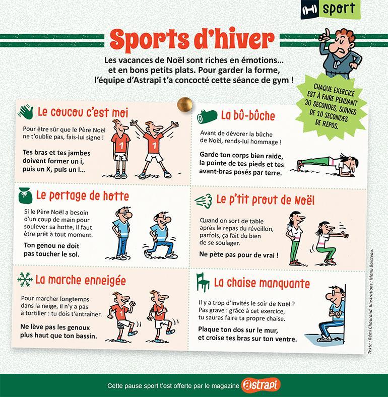 """""""Sports d'hiver"""", Astrapi n°959, 1er décembre 2020. Texte : Rémi Chaurand. Illustrations : Manu Boisteau."""