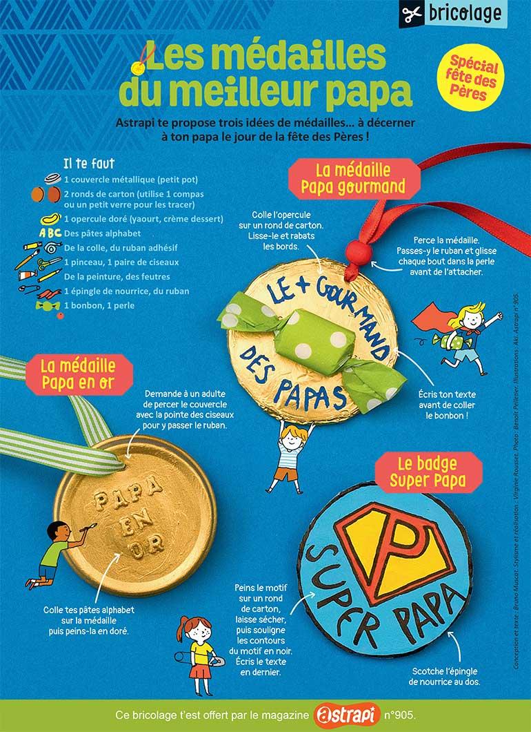 Photo : Benoît Pelletier. Illustrations : Aki. Les médailles du meilleur papa.