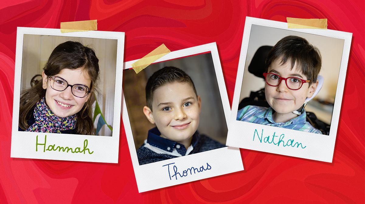 Dossier Mon handicap. Hannah, Thomas et Nathan. Photos : Thomas Louapre (Hannah) et Benoît Teillet.