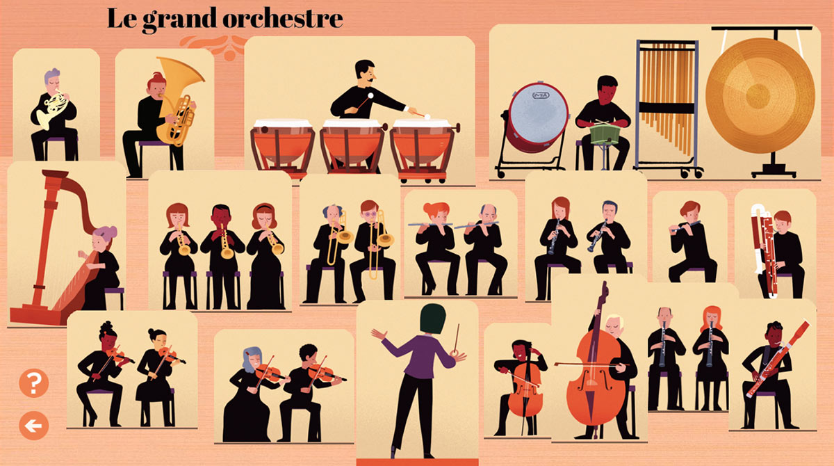 Écouter le grand orchestre - Illustrations : Olivier Latyk - Astrapi - Bayam - Philharmonie de Paris - Philharmonie des enfants